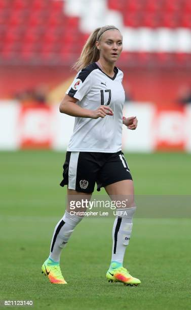 Viktoria Schnaderbeck of Austria in action during the UEFA Women's Euro 2017 Group C match between France and Austria at Stadion Galgenwaard on July...