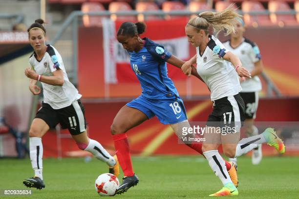 Viktoria Schnaderbeck of Austria women MarieLaure Delie of France women Sarah Puntigam of Austria women during the UEFA WEURO 2017 Group C group...