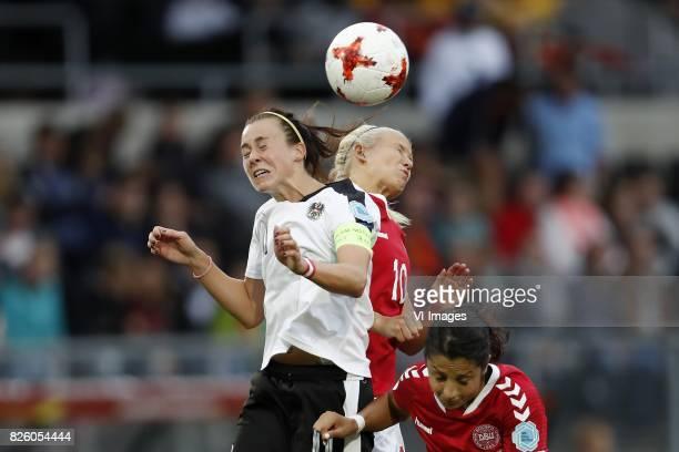 Viktoria Schnaderbeck of Austria women Pernille Harder of Denmark Nadia Nadim of Denmark during the UEFA WEURO 2017 semifinal match between Denmark...
