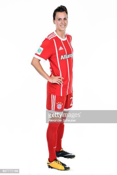 Viktoria Schnaderbeck of Bayern Muenchen poses during the Allianz Frauen Bundesliga Club Tour at FC Bayern Muenchen Campus on August 20 2017 in...