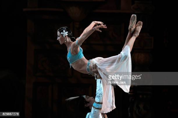 Viktoria Tereshkina as Nikiya and Kimin Kim as Solar in the Mariinsky Ballet's production of Marius Petipa's La Bayadere at The Royal Opera House on...
