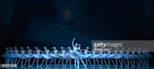 Viktoria Tereshkina as Odette and Xander Parish as Prince Siegfried with artists of the company in The Mariinsky Ballet's production of Konstantin...