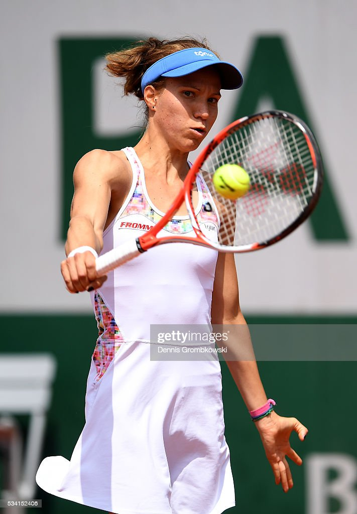 Viktorija Golubic of Switzerland plays a backhand during the Women's Singles second round match against Lucie Safarova of the Czech Republic at Roland Garros on May 25, 2016 in Paris, France.