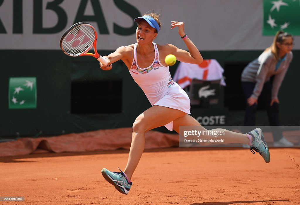 Viktorija Golubic of Switzerland plays a forehand during the Women's Singles second round match against Lucie Safarova of the Czech Republic at Roland Garros on May 25, 2016 in Paris, France.
