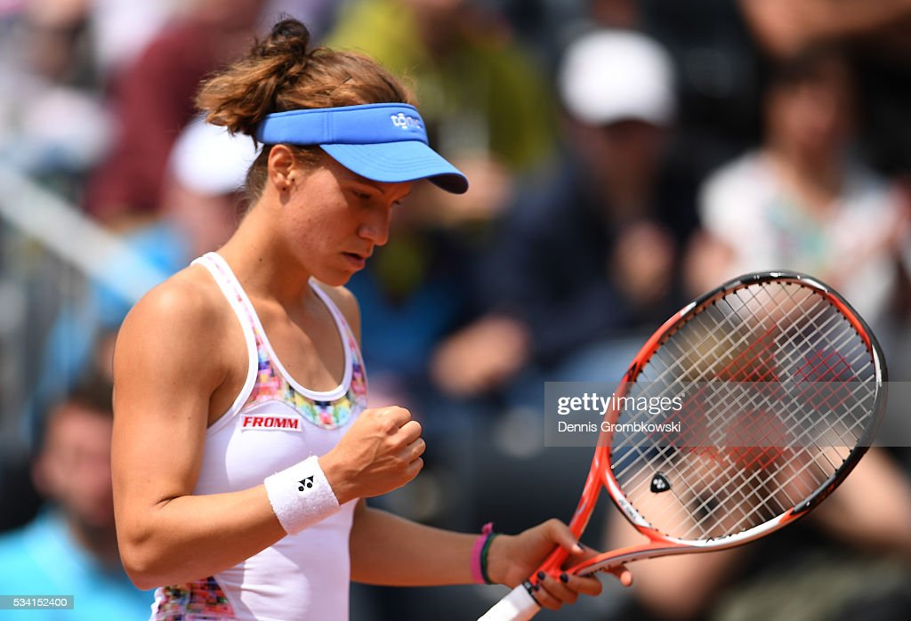 Viktorija Golubic of Switzerland reacts during the Women's Singles second round match against Lucie Safarova of the Czech Republic at Roland Garros on May 25, 2016 in Paris, France.