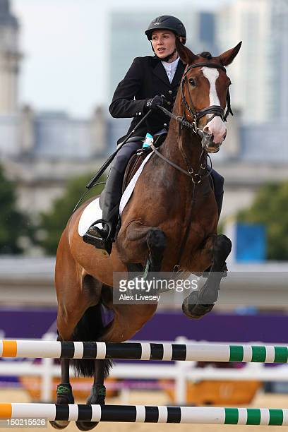 Viktoriya Tereshchuk of Ukraine riding Walk This Way competes during the Riding Show Jumping in the Women's Modern Pentathlon on Day 16 of the London...