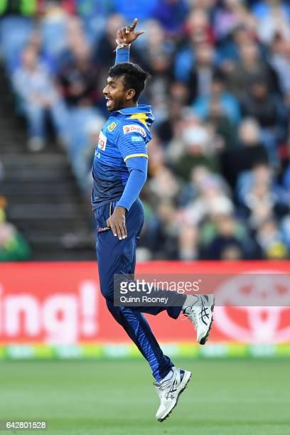 Vikum Sanjaya of Sri Lanka celebrates getting the wicket of Aaron Finch of Australia during the second International Twenty20 match between Australia...