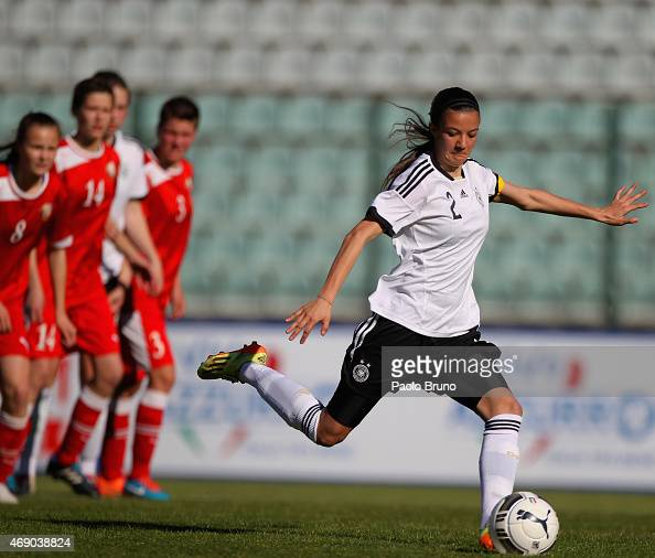 Vildan Kardesler of Germany scores the third team's goal from penalty spot during the UEFA Under17 women's Elite Round match between U17 Germany and...