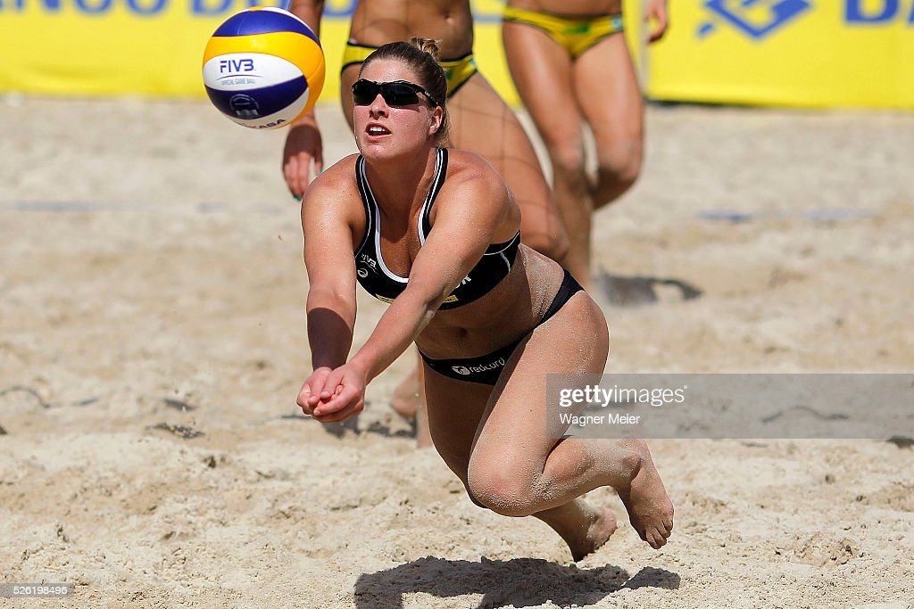 Vilde Solvoll of Norway in action during main draw match against Germany during the FIVB Fortaleza Open on Futuro Beach on April 29, 2016 in Fortaleza, Brazil.