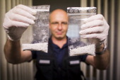 Vilem Kurta investigator of Bavaria police shows confiscated crystal meth in the police station on May 19 2014 in Furth im Wald Germany Furth im Wald...