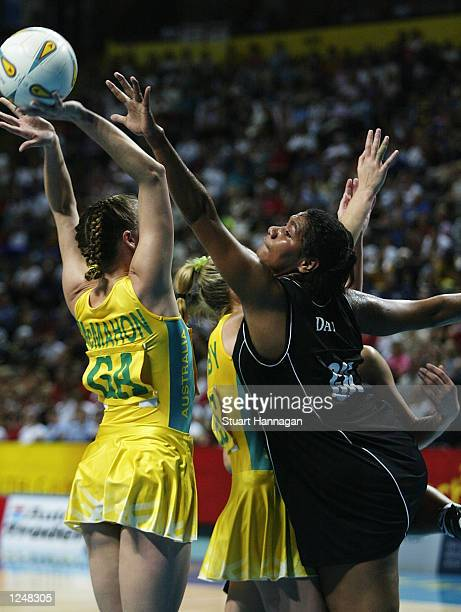 Vilimaina Davu of New Zealand clashes with Sherelle McMahon of Australia in the New Zealand v Australia Women's Netball final at the MEN Arena during...