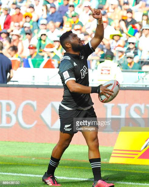 Vilimoni Koroi of New Zealand celebrates after scoring a try during day 2 of the 2017 HSBC Cape Town Sevens Semi Final match between South Africa and...
