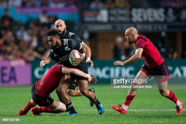 Vilimoni Koroi of New Zealand competes during the 2017 Hong Kong Sevens match between New Zealand and Wales at Hong Kong Stadium on April 7 2017 in...