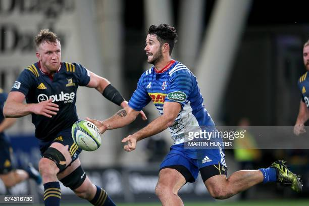 EW Viljoen of the Western Stormers looks for support during the Super Rugby match between the Otago Highlanders of New Zealand and the Western...