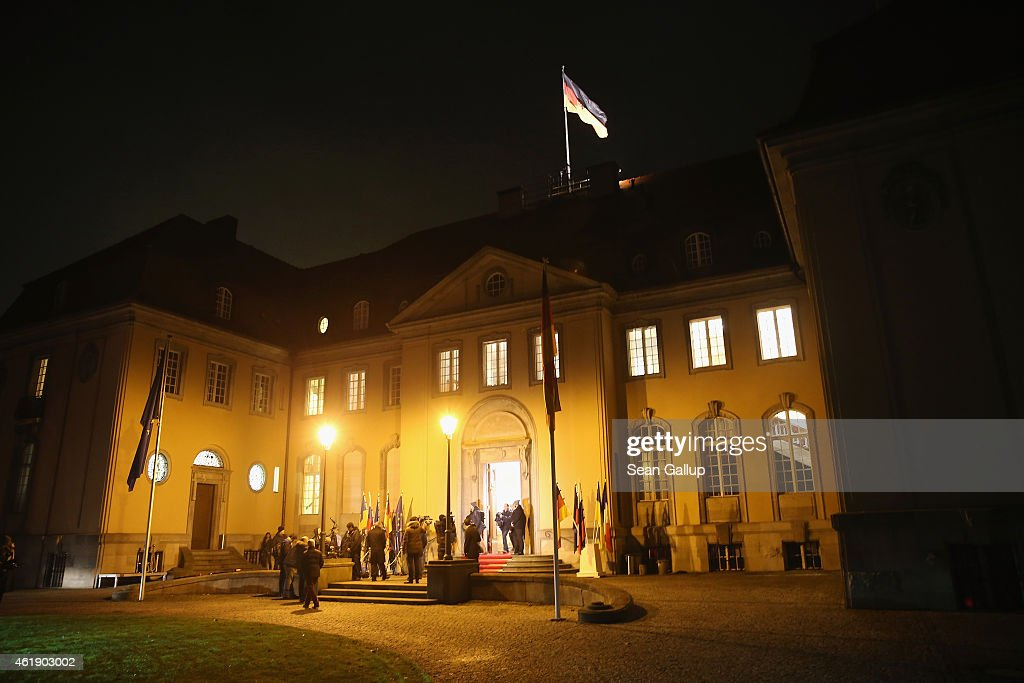 Villa Borsig stands illuminated as Russian Foreign Minister Sergey Lavrov, German Foreign Minister Frank-Walter Steinmeier, Ukrainian Foreign Minister Pavlo Klimkin and French Foreign Minister Laurent Fabius meet inside to discuss the ongoing conflict in eastern Ukraine on January 21, 2015 in Berlin, Germany. The four men are meeting as fighting between the Ukrainian Army and Russian-backed separatists in the Donbas region of eastern Ukraine has increased in the last few weeks.