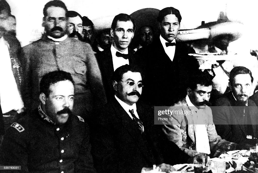 Villa, Eulalio Gutierrez and <a gi-track='captionPersonalityLinkClicked' href=/galleries/search?phrase=Emiliano+Zapata&family=editorial&specificpeople=743817 ng-click='$event.stopPropagation()'>Emiliano Zapata</a> together for a banquet between the Huerta and Carranza presidencies, 1910, Mexico, Mexico. Culture funds, .