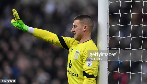Villa keeper Sam Johnstone in action during the Sky Bet Championship match between Newcastle United and Aston Villa at St James' Park on February 20...
