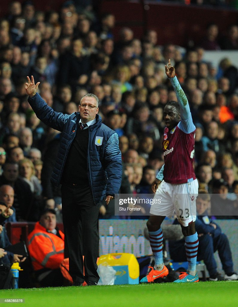 Villa manager <a gi-track='captionPersonalityLinkClicked' href=/galleries/search?phrase=Paul+Lambert+-+Soccer+Manager&family=editorial&specificpeople=8052775 ng-click='$event.stopPropagation()'>Paul Lambert</a> reacts during the Barclays Premier League match between Aston Villa and Tottenham Hotspur at Villa Park on November 2, 2014 in Birmingham, England.