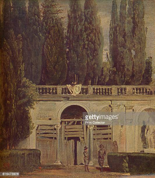 Villa Medicis en Roma' A small painting of the garden at the Villa Medici in Rome with figures watching an unseen event Oil on canvas Held in the...