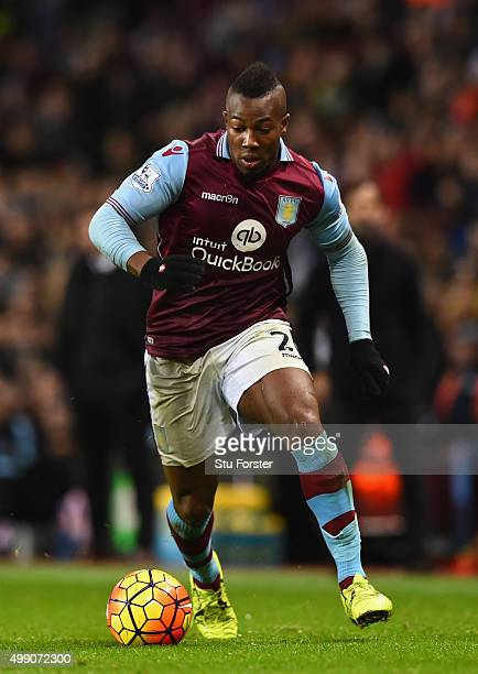 Villa player Adama in action during the Barclays Premier League match between Aston Villa and Watford at Villa Park on November 28 2015 in Birmingham...