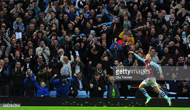 Villa player Andreas Weimann celebrates with the fans after scoring the opening goal during the Barclays Premier League match between Aston Villa and...