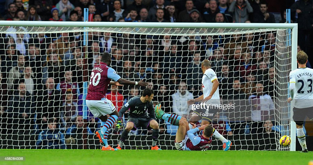 Villa player <a gi-track='captionPersonalityLinkClicked' href=/galleries/search?phrase=Andreas+Weimann&family=editorial&specificpeople=5891558 ng-click='$event.stopPropagation()'>Andreas Weimann</a> (foor) scores the opening goal during the Barclays Premier League match between Aston Villa and Tottenham Hotspur at Villa Park on November 2, 2014 in Birmingham, England.