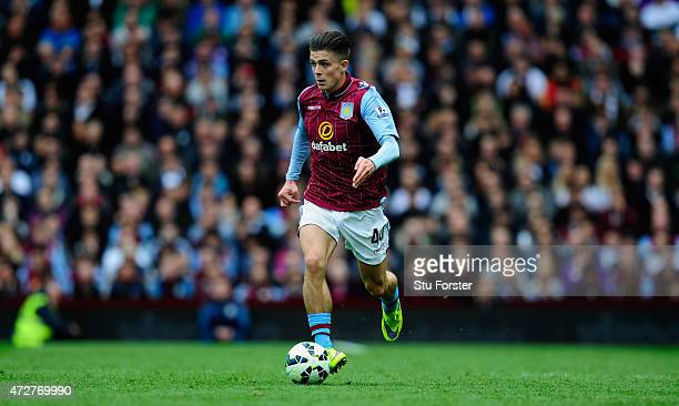 Villa player Jack Grealish in action during the Barclays Premier League match between Aston Villa and West Ham United at Villa Park on May 9 2015 in...