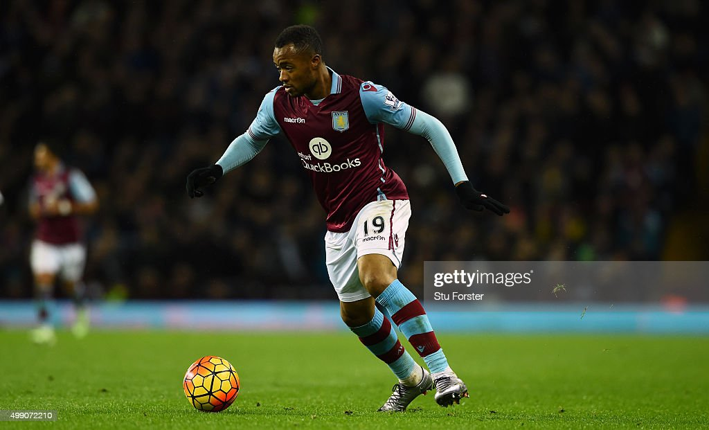 Villa player Jordan Ayew in action during the Barclays Premier League match between Aston Villa and Watford at Villa Park on November 28 2015 in...
