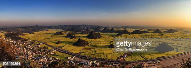 Village and highway next to fields with yellow blooming oil seed rape plants, Luoping,Yunnan, China