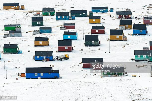 Village at remote polar landscape