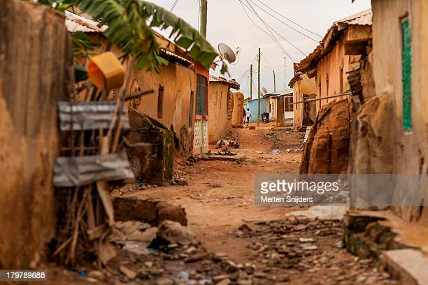Village back alley with a banana tree