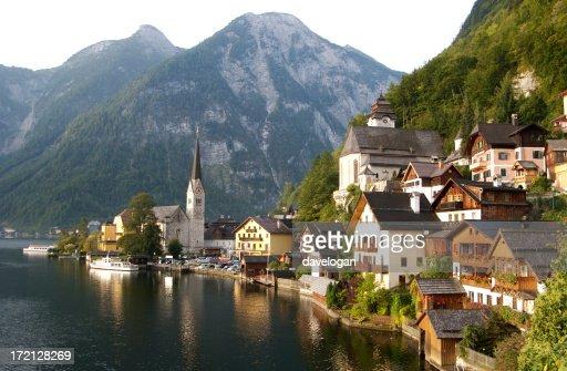 Village by the water with mountains in Hallstatt Austria
