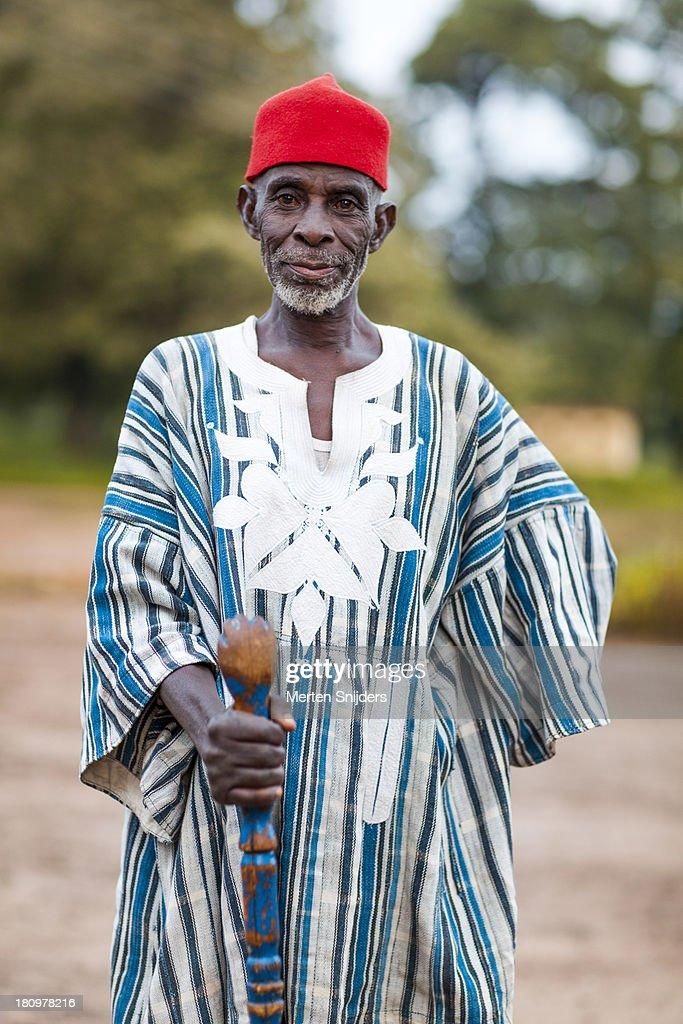 Village chief with red Muslim hat