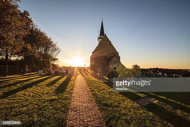 Village church at sunrise, Den Horn, Texel, Holland