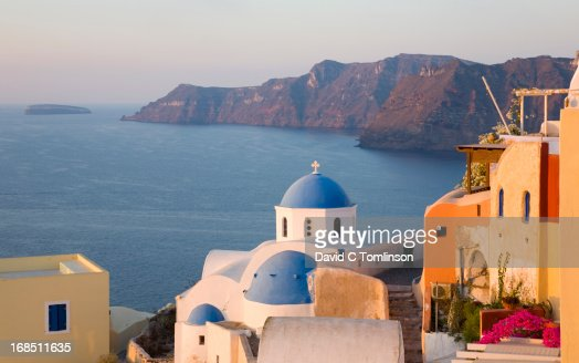 Village church, sunrise, Oia, Santorini, Greece
