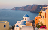 Village church, sunrise, Oia, Santorini, Greece