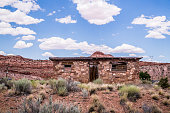 Hopi House. The building is in the style of ancient buildings of the Indian tribe Hopi. Tourist attractions of the Grand Canyon Village