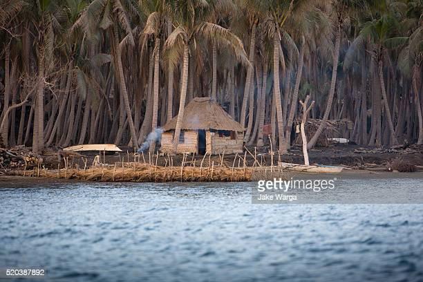 Village hut built on ash, Rabaul, Papua New Guinea