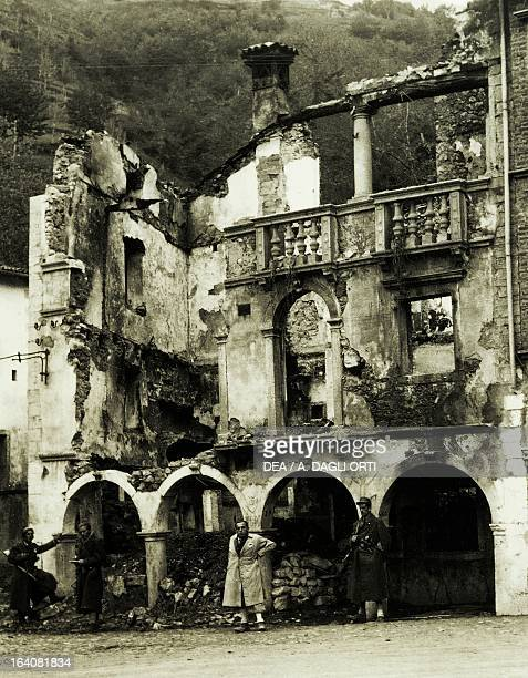 Village in the Vicenza foothills homes reduced to rubble by bombings by the retreating Germans in retaliation for the actions of the partisans World...