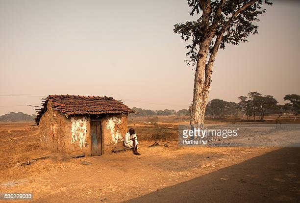 A village man in rest,roadside,Purulia