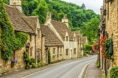 Historic houses in Castle Combe, Wiltshire, described as the prettiest village in England.