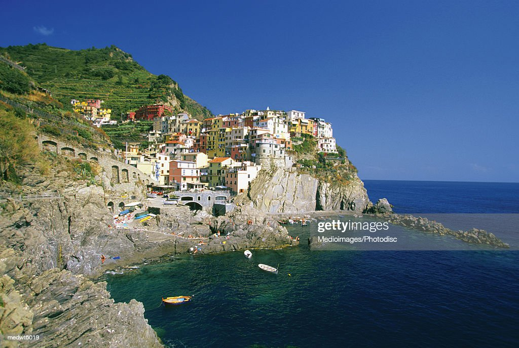 Village of Riomaggiore on the Italian Riviera, Italy : Stock Photo