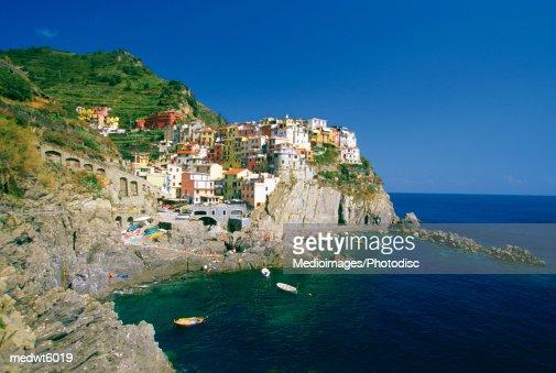 Village of Riomaggiore on the Italian Riviera, Italy : Stock Photo