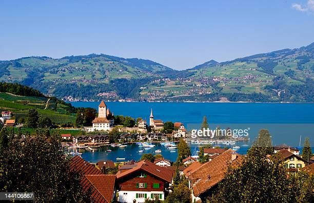 Village Of Spiez On Lake Thun In Swiss Alps Near Interlaken Switzerland