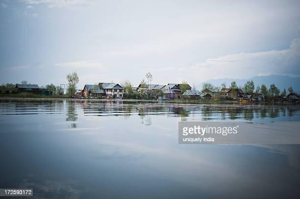 Village on the banks of the Jhelum River, Srinagar, Jammu And Kashmir, India
