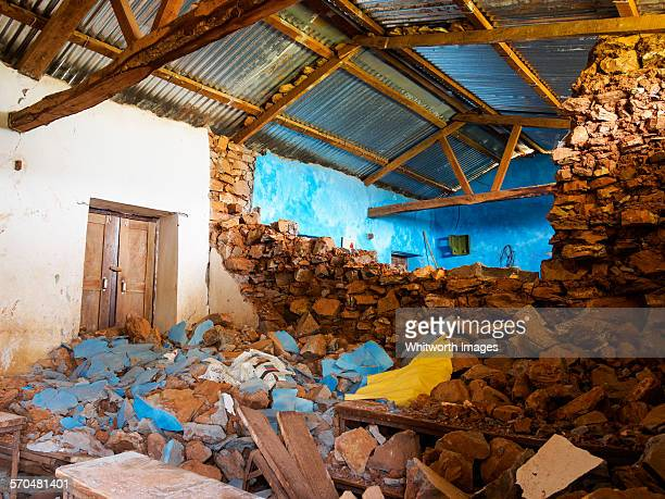 Village school destroyed by earthquake Nepal