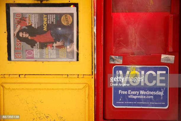 Village Voice newspaper stand is visible on the sidewalk in the East Village neighborhood in Manhattan August 22 2017 The Village Voice one of the...