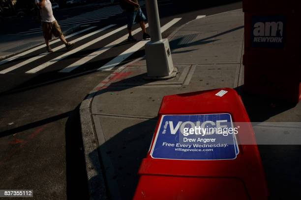 Village Voice newspaper stand lays on the ground in the East Village neighborhood in Manhattan August 22 2017 The Village Voice one of the oldest and...