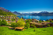 Village Weggis, lake Lucerne (Vierwaldstattersee), Pilatus mountain and Swiss Alps in the background near famous Lucerne city, Switzerland