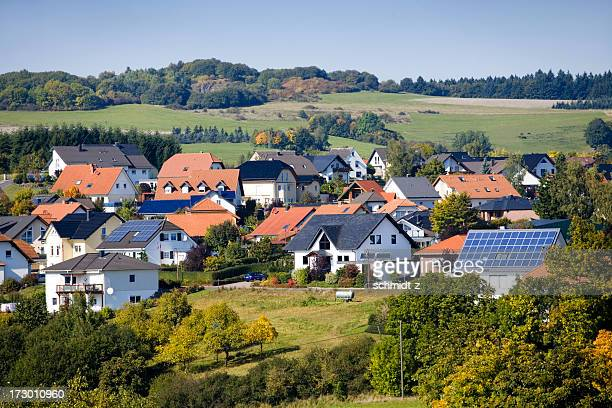 Village with Solar Panel Houses